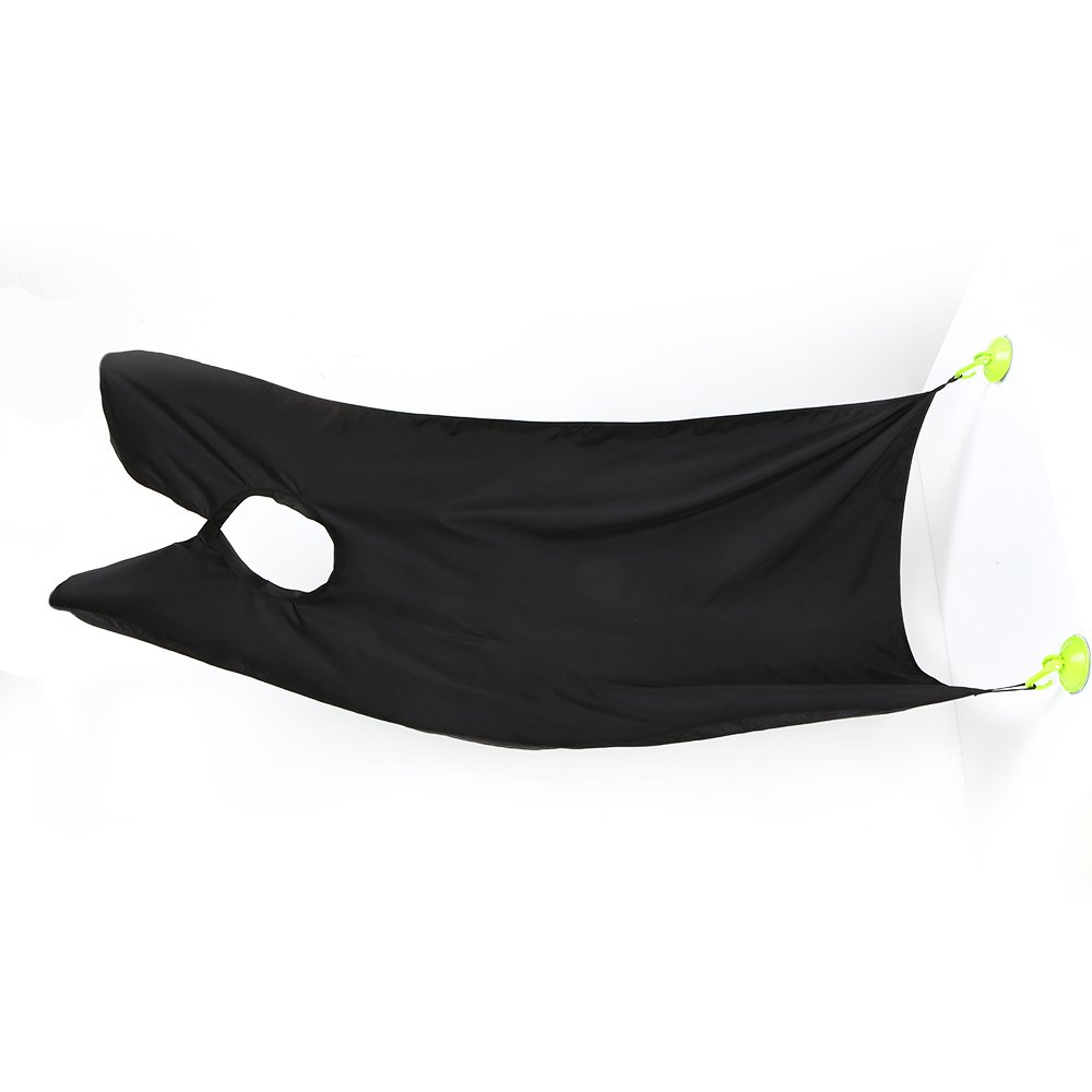 Anself Male Beard Catcher Apron Hair Trimming Shave Haircutting Cape Cloth Black with 2 Suction Cups