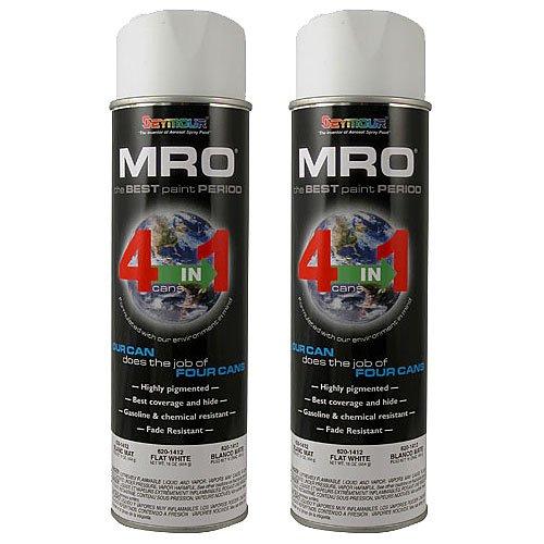 Spray Paint, Flat White MRO Industrial Enamel Spray Paint, 20 Fluid Oz. Cans (2)