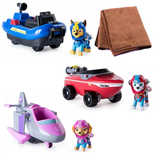 Vehicle Bundle (Paw Patrol – Marshall's , Chase's, Skye's Transforming Sea Patrol Vehicle, Bundle with Cleaning Cloth)