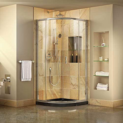 Small Shower Enclosure - DreamLine Prime 33 in. x 74 3/4 in. Semi-Frameless Clear Glass Sliding Shower Enclosure in Chrome with Black Base Kit, DL-6701-89-01