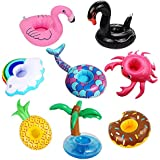 PETUOL Inflatable Drink Holders, 9 Packs Drink Floats Inflatable Cup Coasters for Pool Party and Kids Bath Toys (Mermaid Unicorn Swan Flamingo Crab Pineapple Crab Donut Palm tree Rainbow)