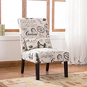 Roundhill Furniture AC162 Pisano Script Linen Print Fabric Armless Contemporary Accent Chair with Matching Kidney Pillow