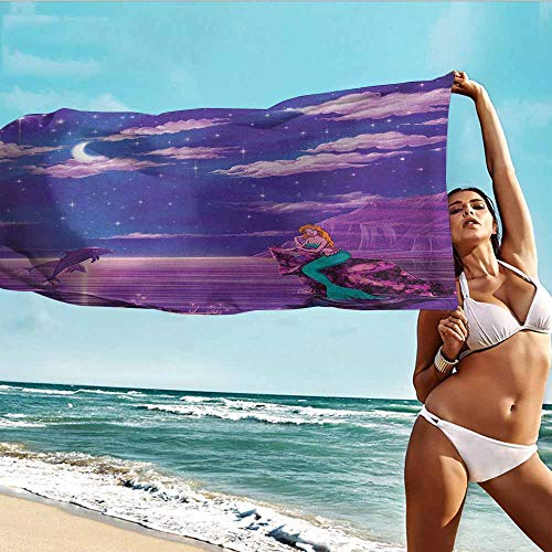 Antonia Reed Print Rectangular Beach Towel Mermaid,Cartoon Style Dolphins and Water Nymph with Open Star Filled Night Sky Background,Multicolor,for bathrooms,Beaches,Parties 32