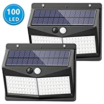 [Upgraded 100 LED] Solar Lights Outdoor, SEZAC Solar Security Lights Solar 150° Wide Angle Lighting Solar Motion Sensor Lights Wireless Waterproof Outdoor Lights for Garden Fence Patio Garage (2 Pack)