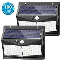 [Upgraded 100 LED] Solar Lights Outdoor, SEZAC Solar Security Lights Solar 150° Wide Angle Lighting Solar Motion Sensor Lights Wireless Waterproof Outdoor Lights for Garden Fence Patio Garage (2 Pack)