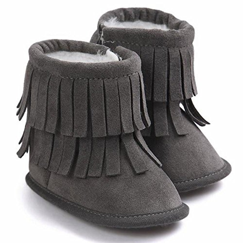 Bolayu Baby Keep Warm Tassels Crib Shoes Toddler Soft Sole Snow Boots (11, Dark (Doc Brown Outfit)