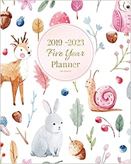 2019 2023 Five Year Planner Cute Animals 60 Months Planner And