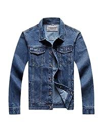 Jinmen Men's Classic Rugged Wear Unlined Denim Jacket M-6XL