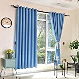 Cheap Heredeco Blackout Window Curtain Panel Grommet Top Drapes 2 Panels Set Room Darkening Thermal Insulated Window Treatments 71 inch Wide by 84 inch Long ( Light Blue )