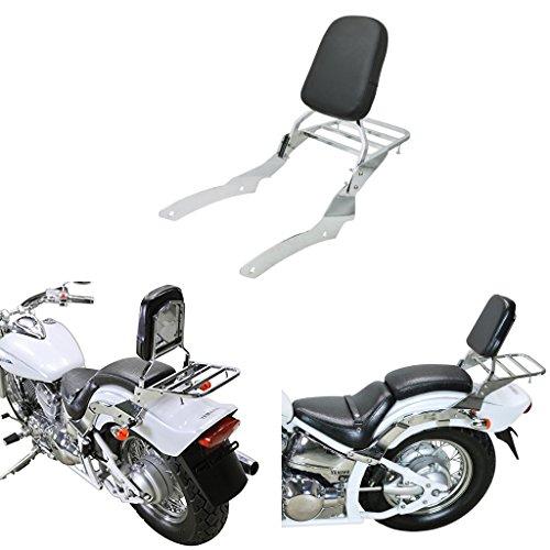 Chrome Backrest Sissy Bar With Luggage Rack Backrest Pad For Yamaha V-Star Vstar 650 400 Custom 1996-2011 (Bar Pads Custom)