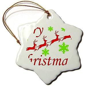 DCKLOIK Red Christmas Elk 3 Inch Porcelain Snowflake Decorative Hanging Ornament