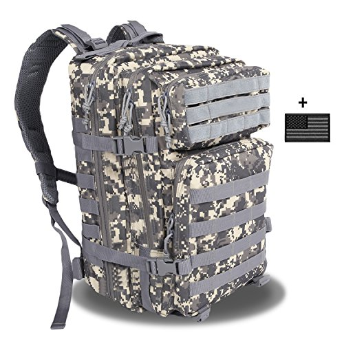 Z ZTDM Backpack 40L Tactical Outdoor Molle Army Military Rucksacks 3 Day Assault Pack for Camping Hiking Trekking Fishing 900D Waterproof with Flag (ACU Camouflage)