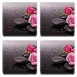 MSD Square Coasters Non-Slip Natural Rubber Desk Coasters design 26105316 Spa stone and rose flowers still life Healthcare concept