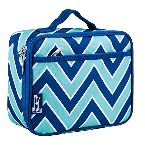 Lunch Box, Wildkin Lunch Box, Insulated, Moisture Resistant, and Easy to Clean with Helpful Extras for Quick and Simple Organization, Ages 3+, Perfect for Kids or On-The-Go Parents – Zigzag (Turquoise Lunch Box)