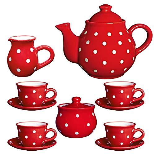 - City to Cottage Handmade Red and White Polka Dot Ceramic Teapot Set, Large 1,7l/60oz/4-6 Cup Teapot, Milk Jug, Sugar Bowl, Four Cups and Saucers Tea Set, Pottery Housewarming Gift for Tea Lovers