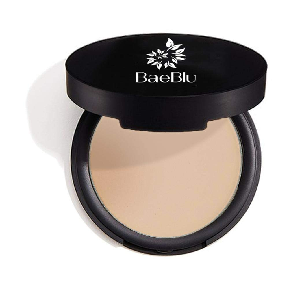 BaeBlu Mattifying Pressed Powder Compact, 100% Vegan, Gluten-Free, Non GMO and Made in USA with Natural and Organic Ingredients, Sheer Medium