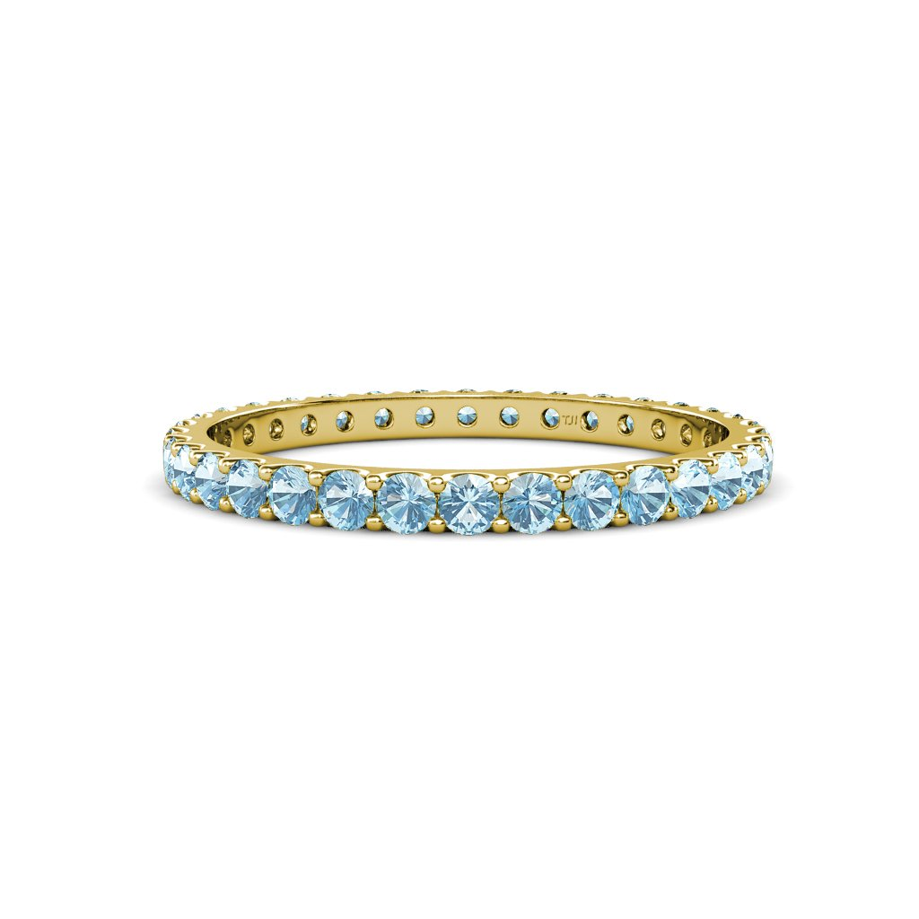 Aquamarine U-Prong Eternity Band 0.86 ct tw to 1.00 ct tw in 14K Yellow Gold.size 7.0