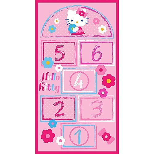 Hopscotch Bean Bag Game - Hello Kitty Hopscotch Game Rug Includes Bean Bags, 31.5