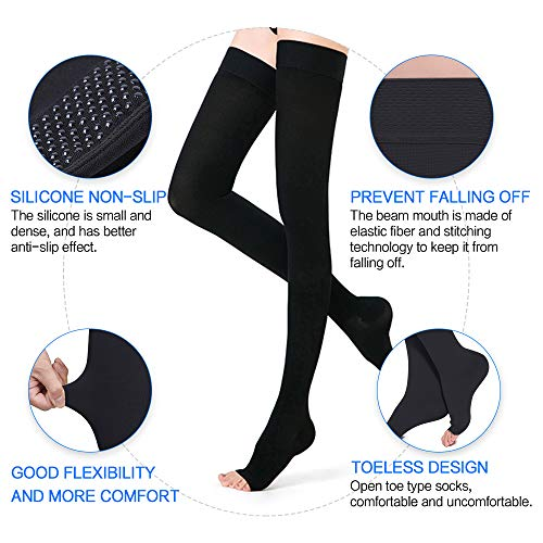 6cf10b39597 ... SKYFOXE Thigh High Compression Stockings Women Men-Open Toe Firm  Support 20-30 mmHg ...
