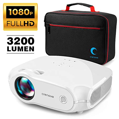 Crenova XPE498 Video Projector, Multimedia Home Theater with 3200 Lumens, Supports HDMI/VGA/USB/AV/SD/PC/Smartphone/Tablet/Xbox for World Cup/Movie Night/Gaming (Top Digital Trend in 2019) (White-bag)