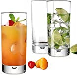 Heavy Base Highball Glasses 17 Ounce with S/S Straws, Clear Tall Barware Drinking Glasses for Water, Juice, Beer, Whiskey, and Cocktails - Set of 4