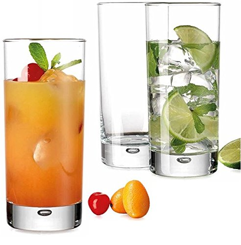 Heavy Base Highball Glasses 17 Ounce with S/S Straws, Clear Tall Barware Drinking Glasses for Water, Juice, Beer, Whiskey, and Cocktails - Set of 4 by Bar Essentials