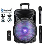 STARQUEEN 15'' Portable Bluetooth Speaker, Rechargeabl PA System with 2 Wireless Microphones/Remote Control/LED Party Lights, AUX/USB/TF Input/FM Radio/Holes for Tripod Stand, Karaoke Amplifier System