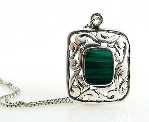 Malachite Necklace Bezel Set Gemstone in Sterling Silver Filigree Pendant on Sterling Silver Box (Bezel Box Set)