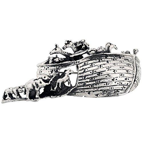 Sterling Silver Noah's Ark Brooch Pin, 2 5/8 inch (67 mm) wide