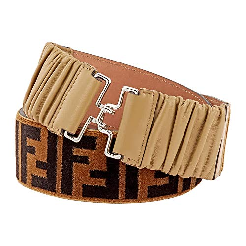 Fendi FF Printed Belt in Tan/Black (Fendi Logo Buckle Belt)