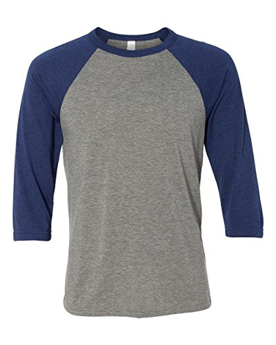 Bella 3200 Unisex 3 By 4 Sleeve Baseball Tee - Grey & Navy Triblend, Small (Classy Outfits For Men)