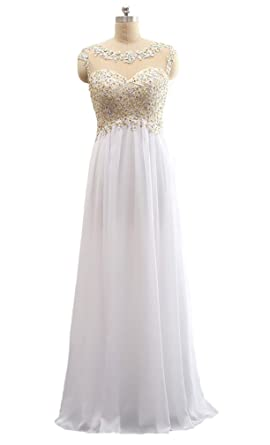 YFOP Womens Beading Evening Party Gowns Appliques Sequined Formal Prom Dresses Long 2017 Y005 - White