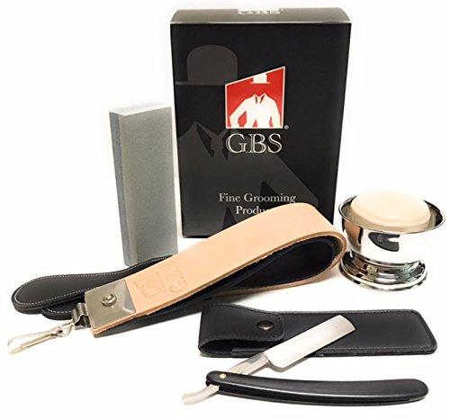 Price comparison product image Straight Razor Shaving Set-Starter Kit - Includes Honing/Sharpening Stone, Leather Strop, Shaving Bowl, Shaving soap, Black Straight Razor & Travel Case