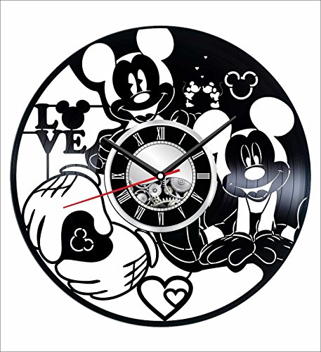 Holiday Mickey Mouse Personalized (Mickey Mouse Wall Clock Made of Vintage Vinyl Records - Stylish clock and Amazing Gifts Idea – Unique Home Decor – Personalized Presents for Men Women Kids – Great for Living Room Bedroom Kitchen)