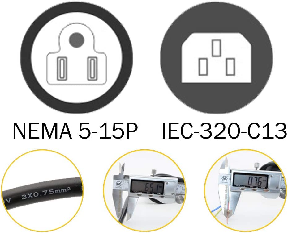 Black Color DTK 6ft // 1.8M IEC 60320 C13 3 Prong Power Cord NEMA 5-15P to IEC-320-C13 Power Cable for PC,AC Adapter,Laptop Monitor Projector