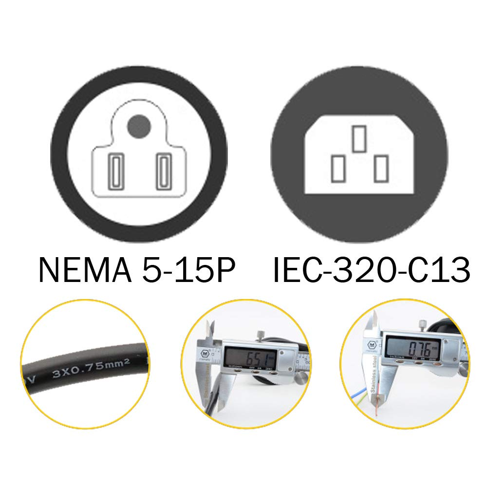 Monitor Black Color 2 Pack DTK 6ft // 1.8M IEC 60320 C13 3 Prong Power Cord NEMA 5-15P to IEC-320-C13 Power Cable for PC,AC Adapter,Laptop Projector