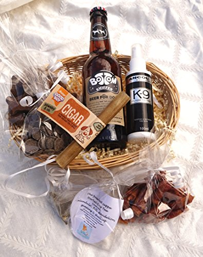 PAWSECCO LUXURY GIFT WRAPPED VALENTINE EASTER CHRISTMAS BIRTHDAY DOG HAMPER FOR HIM WITH HEART TAG, DOG BEER, DOG TEA, TREATS, EDIBLE CIGAR AND COLOGNE – FOR THE REAL LOVE OF YOUR LIFE!
