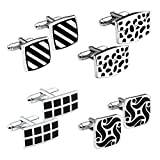 Zysta 4 Pairs Stainless Steel Men's Exquisite GQ Classic Shirts Cufflinks Groom Wedding Gift Business Shirt Cuff Links + Gift Box