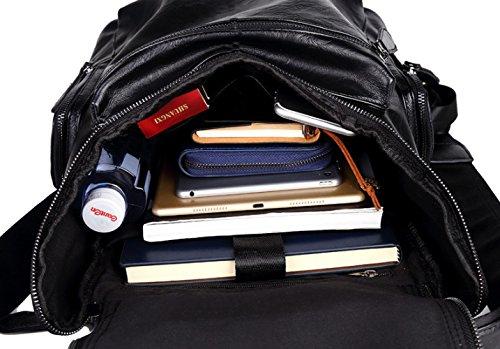 negro Mochila PU Boy Computadora Mochila Los De De Cuero PANGOIE La La De De School Hombres Black College De Bookbag Viaje Portátil RngqxzXdX4