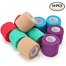 Vet Wrap Bandages for Dog Pet Horse Cat - LotFancy Self Adherent Cohesive Tape, 10 Rolls, Assorted Colors, FDA Approved, 2 Inches x 5 Yards