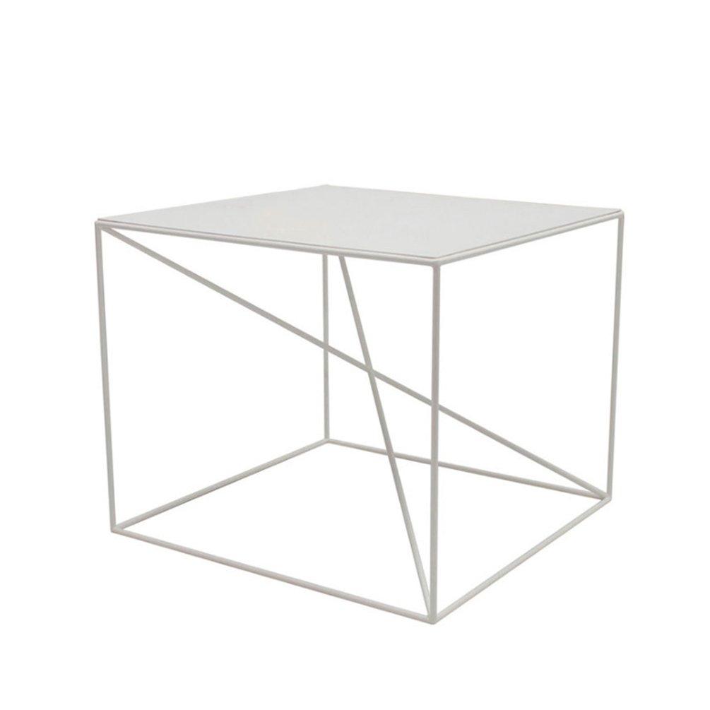 CSQ リビングルーム小さなスクエアテーブル、クリエイティブコーヒーテーブルアイアンアートいくつかの側面コーナーいくつかのベッドルームのベッドサイドテーブル装飾テーブルカジュアルな読書テーブル交渉テーブル (色 : 白) B07DZLXYXX白