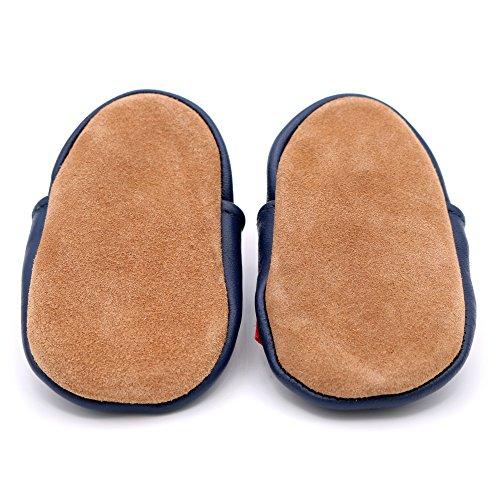 Dotty Fish - Zapatos de cuero suave para bebés - Niños - Vehículos (2-3 Años, Camion de bomberos)