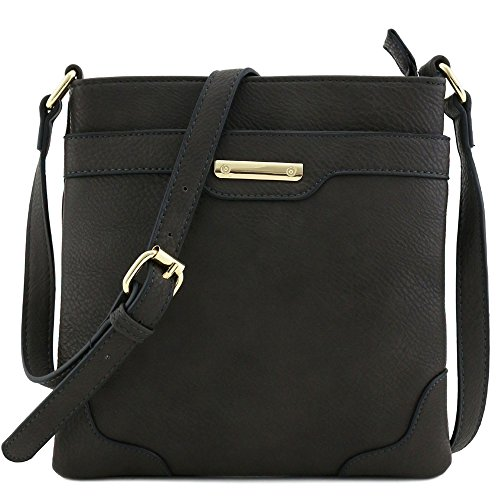 Women's Medium Size Solid Modern Classic Crossbody Bag with Gold Plate (Charcoal - Solid Handbag Black