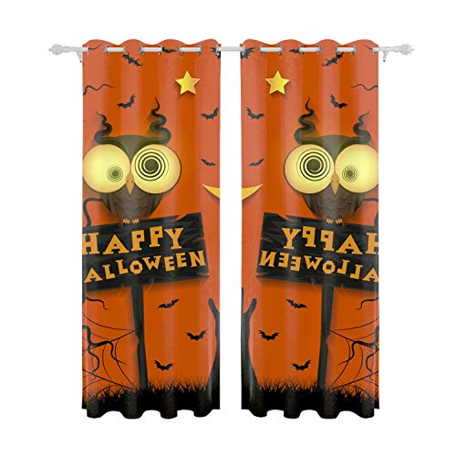 Verna Christopher Thermal Insulated Blackout Grommet Curtain Drapes for Living Room 55inch Width by 84 inch Length-Set of 2 Panels-Halloween Holiday Crazy Owl ()