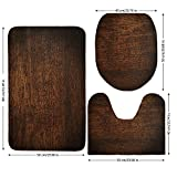 3 Piece Bathroom Mat Set,Wooden Decor,Old Vintage Antique Timber Oak Background Rustic Floor Artisan Photo Print,Chestnut Brown,Bath Mat,Bathroom Carpet Rug,Non-Slip