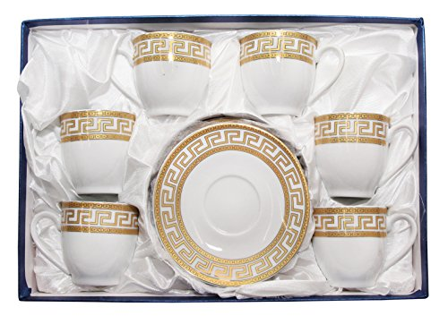 Royalty Porcelain 12pc Gold Miniature Coffee Set, 6 Gold-Plated Cups w/ Saucers, Greek Pattern, Porcelain (Cup Plated Gold)
