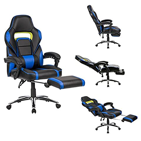 LANGRIA High Back Ergonomic Gaming Chair Racing Computer Office Chair With Padded Footrest Lumbar Support,Black and Blue