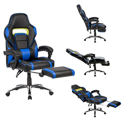 LANGRIA Computer Gaming Chair Faux Leather Racing Style Executive Office Chair Ergonomic High Back Design With Padded Footrest Lumbar Support,Black and Blue (Heavy Solid Duty Race)