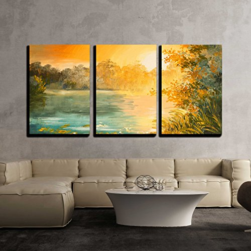 (wall26 - 3 Piece Canvas Wall Art - Oil Painting - Sunset on The Lake, Colorfull Art Drawing, Autumn, Yellow - Modern Home Decor Stretched and Framed Ready to Hang - 24