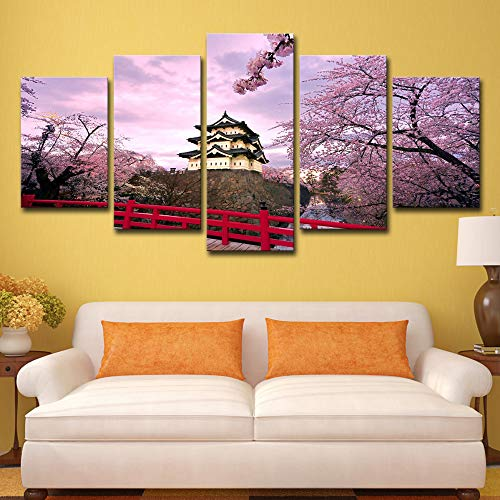 Canvas Wall Art Pictures Hd Printed Poster 5 Pieces Home Decor Cherry Blossoms Castle and House Paintings Modular Frame 5p0518 no Frame M: 10X15-2P 10X20-2P 10X25-1P